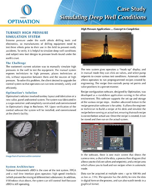 Turnkey high pressure test systems by Optimation